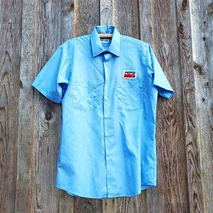 Rare Promo 90s Pepsi Patch Button Down Short Sleeves Blue Shirt Claude Meunier